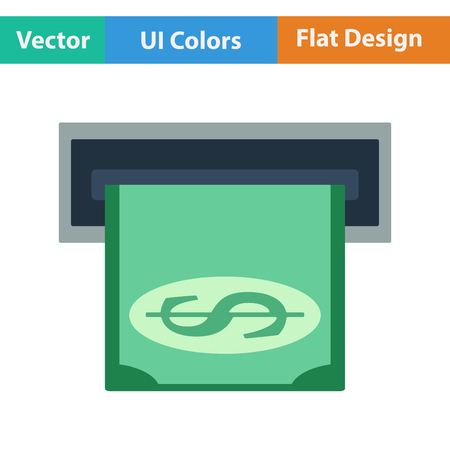 slot in: Flat design icon of dollar banknote sliding from atm slot in ui colors. Vector illustration.