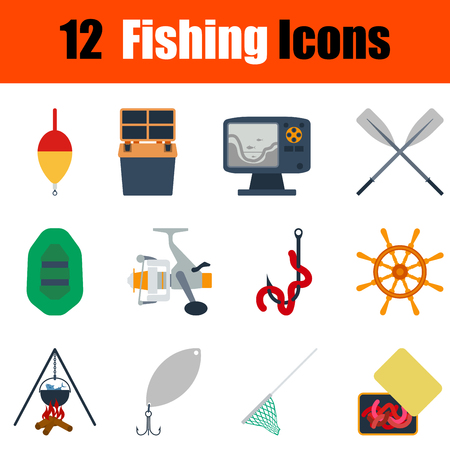 tackle box: Flat design fishing icon set in ui colors. Vector illustration.