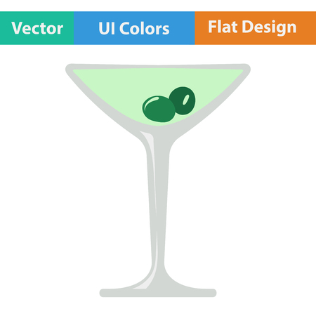 vermouth: Flat design icon of cocktail glass with olives in ui colors. Vector illustration.