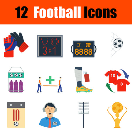 Flat design football icon set in ui colors. Vector illustration. Vectores