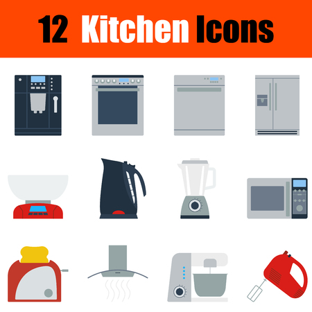 household goods: Flat design kitchen icon set in ui colors. Vector illustration.