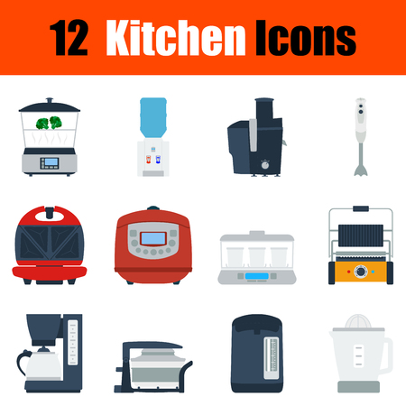 double boiler: Flat design kitchen icon set in ui colors. Vector illustration.