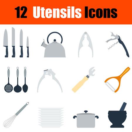 peeler: Flat design utensils icon set in ui colors. Vector illustration.