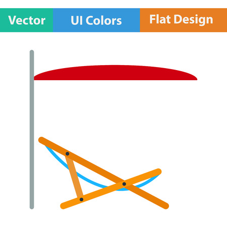 recliner: Flat design icon of sea beach recliner with umbrella  in ui colors. Vector illustration.