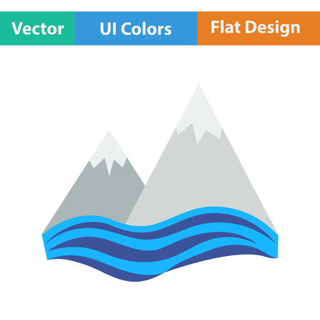 cliff: Flat design icon of snow peaks cliff on sea in ui colors. Vector illustration.