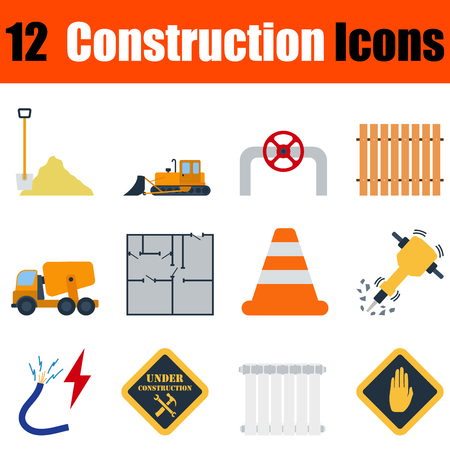 drill: Flat design construction icon set in ui colors. Vector illustration.