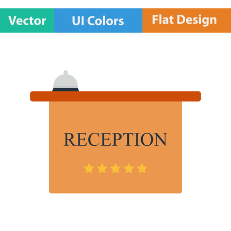 hotel reception: Flat design icon of hotel reception desk with bell in ui colors. Vector illustration. Illustration