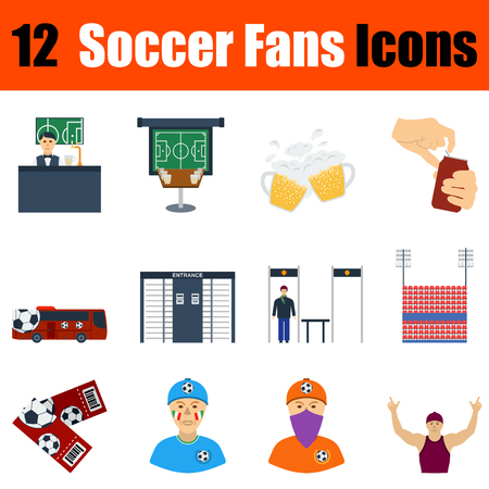 Flat design football fans icon set in ui colors. Vector illustration.