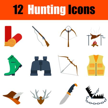 wildlife shooting: Flat design hunting icon set in ui colors. Vector illustration. Illustration