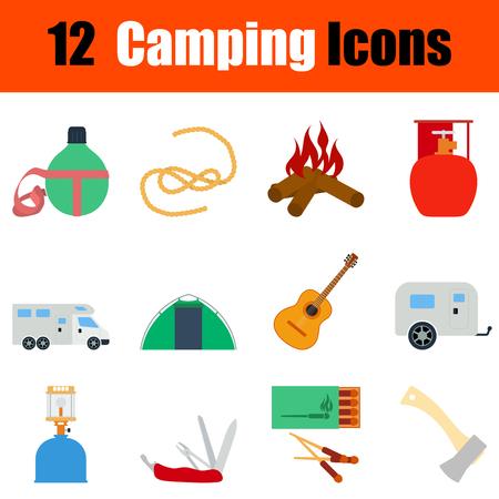 travel burner: Flat design camping icon set in ui colors. Vector illustration.
