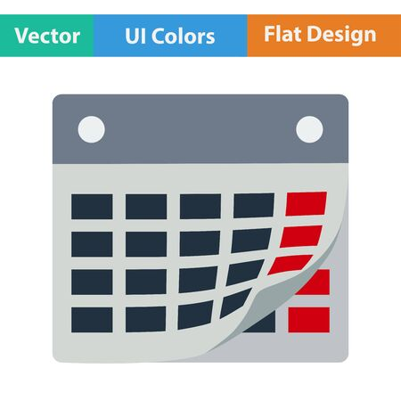intention: Flat design icon of calendar with bent page  in ui colors. Vector illustration.