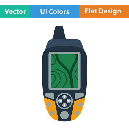 waypoint: Flat design icon of portable GPS device in ui colors. Vector illustration.