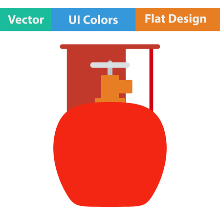 fillup: Flat design icon of camping gas container in ui colors. Vector illustration.