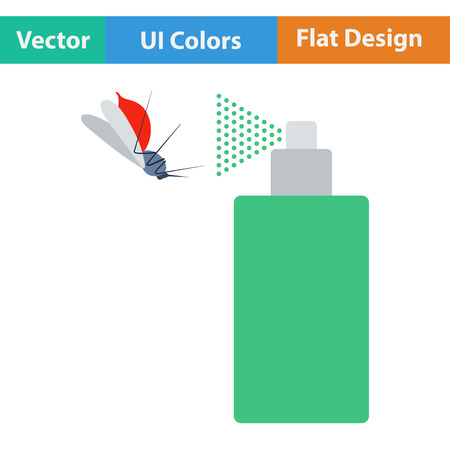 pandemic: Flat design icon of mosquito spray in ui colors. Vector illustration. Illustration