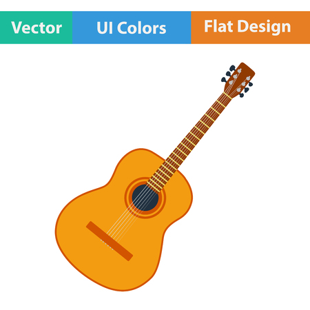 ukulele: Flat design icon of acoustic guitar in ui colors. Vector illustration.