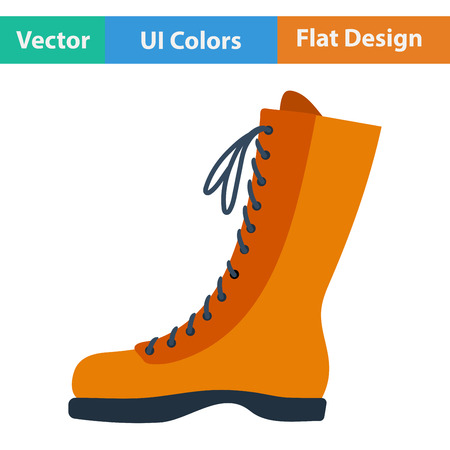 hiking boot: Flat design icon of hiking boot in ui colors. Vector illustration.