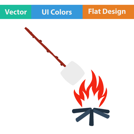 roasting: Flat design icon of camping fire with roasting marshmallow  in ui colors. Vector illustration. Illustration