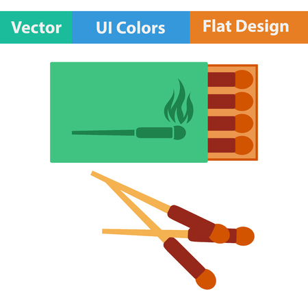 match box: Flat design icon of match box in ui colors. Vector illustration.