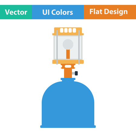gas lamp: Flat design icon of camping gas burner lamp in ui colors. Vector illustration. Illustration