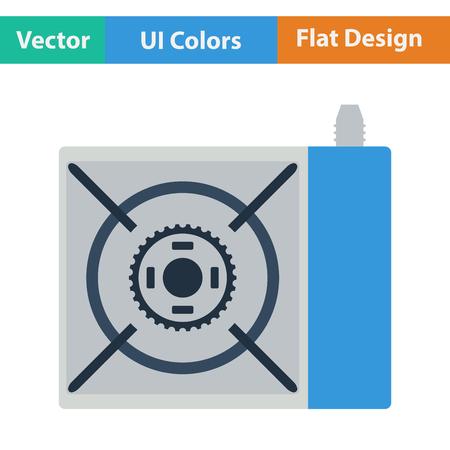 travel burner: Flat design icon of camping gas burner stove in ui colors. Vector illustration.