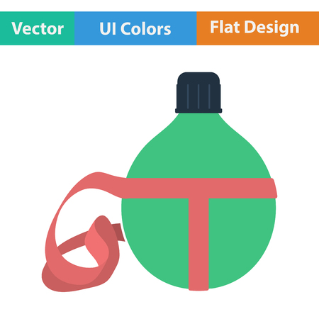 personal accessories: Flat design icon of touristic flask in ui colors. Vector illustration.