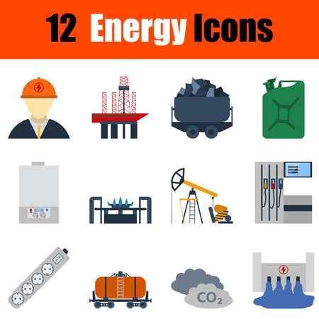 energy icon: Flat design energy icon set in ui colors. Vector illustration.