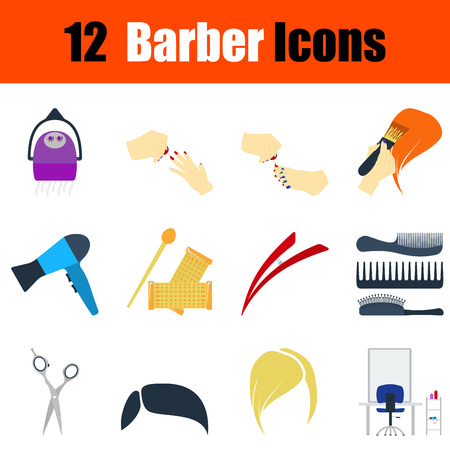 haircutting: Flat design barber icon set in ui colors. Vector illustration.