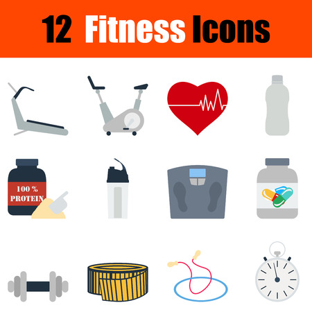 body wrap: Flat design fitness icon set in ui colors. Vector illustration.