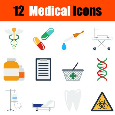 emergency cart: Flat design medical icon set in ui colors. Vector illustration.