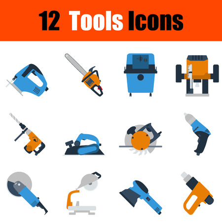drill: Flat design tools icon set in ui colors. Vector illustration.