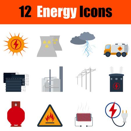 power transformer: Flat design energy icon set in ui colors. Vector illustration.