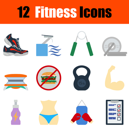 box weight: Flat design fitness icon set in ui colors. Vector illustration.