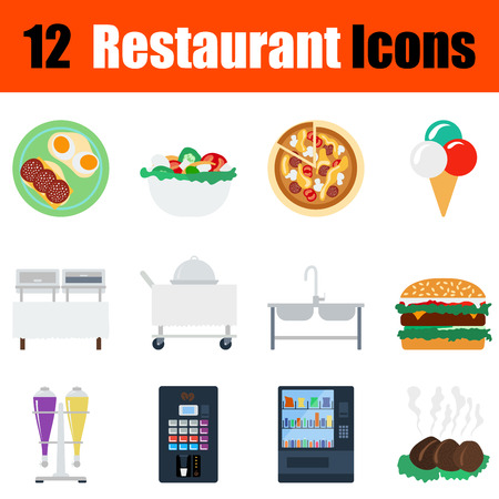 Flat design restaurant icon set in ui colors. Vector illustration.