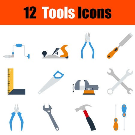 hand wrench: Flat design tools icon set in ui colors. Vector illustration.