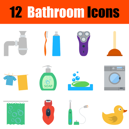 shave: Flat design bathroom icon set in ui colors. Vector illustration.