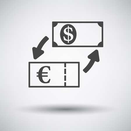 foreign currency: Currency dollar and euro exchange icon on gray background with round shadow. Vector illustration.