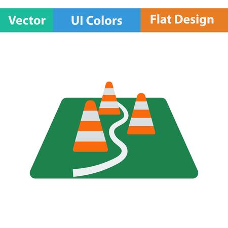 Flat design icon of football training cones in ui colors. Vector illustration.