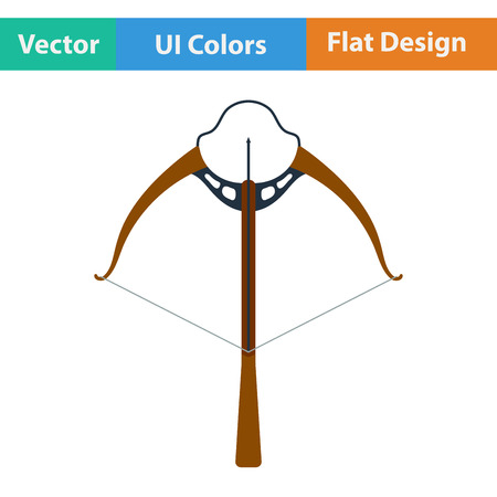 arbalest: Flat design icon of crossbow in ui colors. Vector illustration.