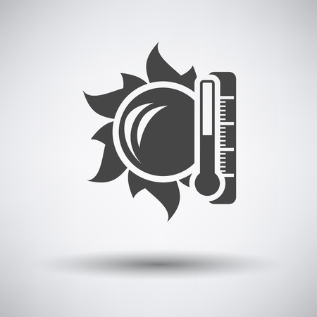 high temperature: Sun and thermometer with high temperature icon on gray background with round shadow. Vector illustration.