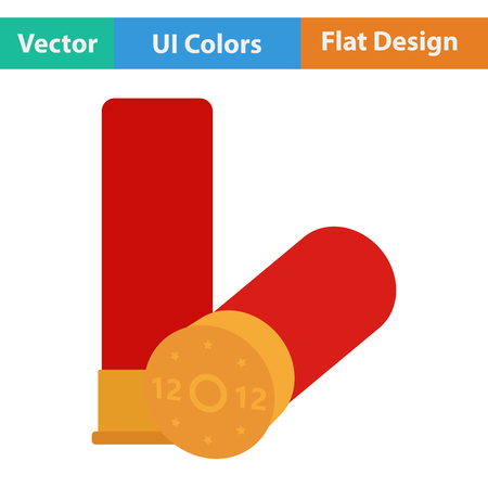 caliber: Flat design icon of ammo from hunting gun in ui colors. Vector illustration.