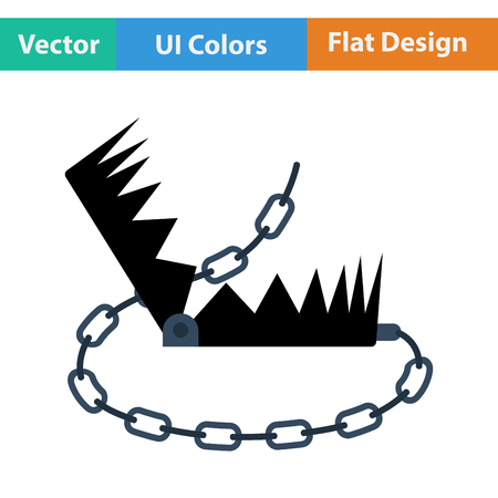 bear trap: Flat design icon of bear hunting trap in ui colors. Vector illustration. Illustration