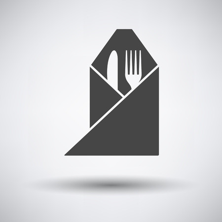 napkin: Fork and knife wrapped napkin icon on gray background with round shadow. Vector illustration.