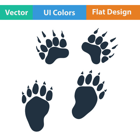 track pad: Flat design icon of bear trails in ui colors. Vector illustration.