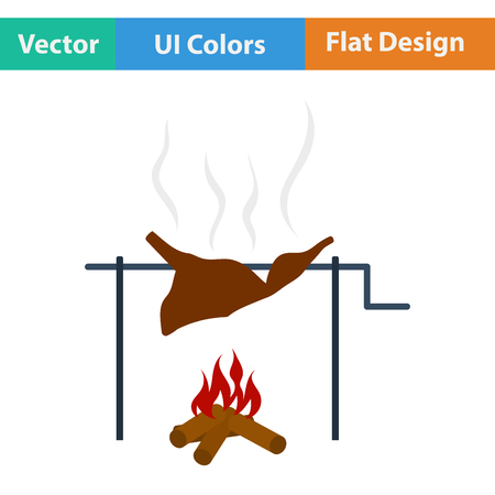 roasting: Flat design icon of roasting meat on fire in ui colors. Vector illustration.