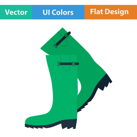 hunters: Flat design icon of hunters rubber boots in ui colors. Vector illustration.