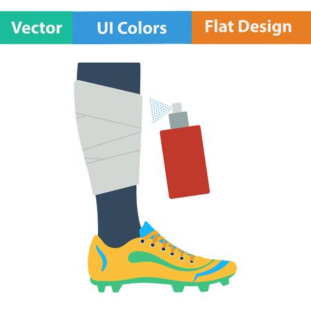 leg bandage: Flat design icon of football bandaged leg with aerosol anesthetic in ui colors. Vector illustration.