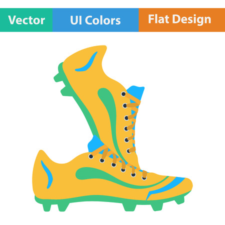 football boots: Flat design icon of football boots in ui colors. Vector illustration.