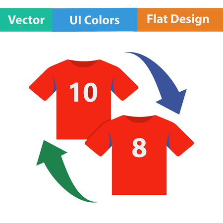 replace: Flat design icon of football replace  in ui colors. Vector illustration.