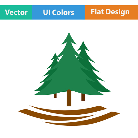 evergreen: Flat design icon of fir forest in ui colors. Vector illustration.