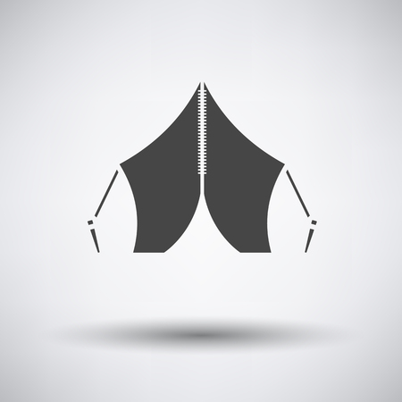 touristic: Touristic tent icon on gray background with round shadow. Vector illustration.